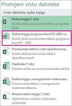 Oblik radne knjige programa Excel 97-2003