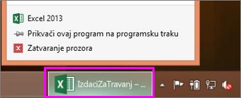 programska traka s ikonom radne knjige programa Excel