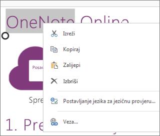 Kontekstni izbornik u web-aplikaciji OneNote Online na dodirnom uređaju