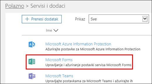Microsoft Forms administratorske postavke