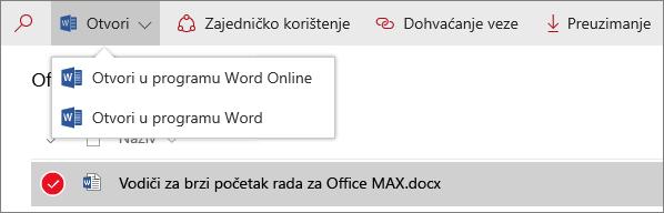 Snimka zaslona na kojoj se prikazuje izbornik Otvaranje u biblioteci dokumenata u novom okruženju.