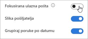 Snimka zaslona s prikazom uključivanja/isključivanja Fokusirane ulazne pošte