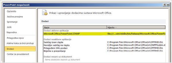 Mogućnosti programa PowerPoint, zaslon s dodacima s istaknutim dodatkom STAMP