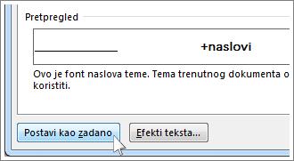 Gumb Postavi kao zadano u dijaloškom okviru Font