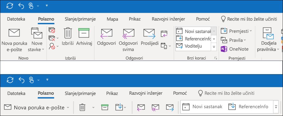 Sada možete odabrati dva različita iskustva na vrpci u programu Outlook.