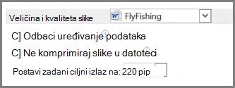 Mogućnosti veličine i kvalitete slike u programu Word 2013