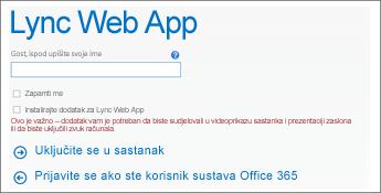 snimka zaslona stranice uključivanja u sastanak na kojoj se korisnik prijavljuje kao gost