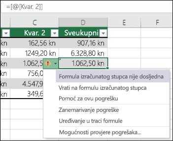 Pogreška u formuli koje nisu usklađene obavijesti u tablici programa Excel