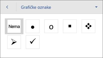 Naredba Grafičke oznake na kojoj se prikazuju mogućnosti oblikovanja