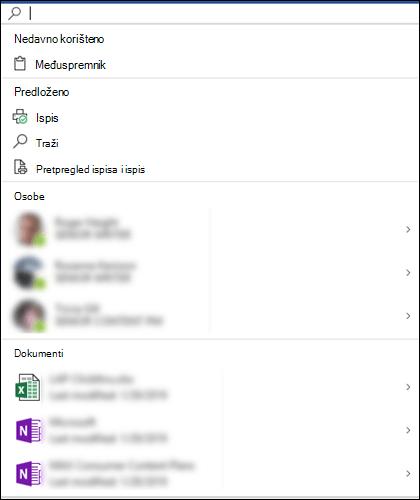Odabran okvir značajke Microsoft pretraživanje