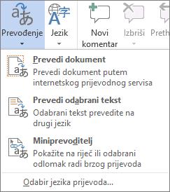 Alati za prijevod dostupni u programima sustava Office