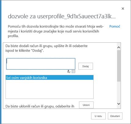 Dijaloški okvir dozvole za određivanje osoba koje mogu stvarati na OneDrive