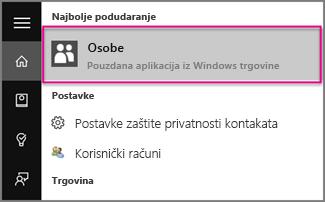 Unesite Osobe u sustavu Windows 10