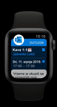 Apple Watch koji prikazuje predstojeću obvezu u kalendaru programa Outlook