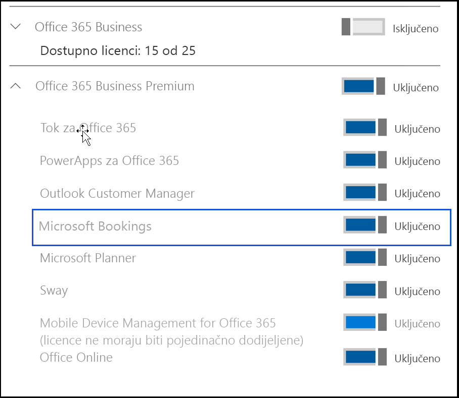 Snimke zaslona s prikazom postavke Microsoft Bookings da biste je isključena u licence proizvoda.
