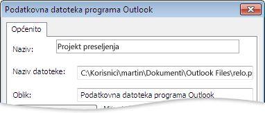 Dijaloški okvir Podatkovna datoteka programa Outlook