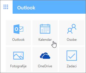 Snimka zaslona prikazuje odabranu pločicu Kalendar.