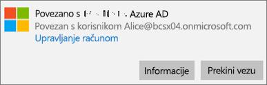 U dijaloškom okviru Povezano sa servisom Azure AD kliknite ili dodirnite Informacije.