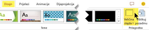 Gumb veličina slajda nije na desnom kraju na kartici Dizajn vrpce alatne trake
