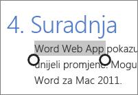 Odabir teksta u načinu rada za dodir web-aplikacija Office Online