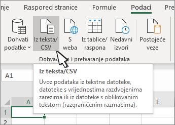 Odabir teksta/CSV na kartici Podaci