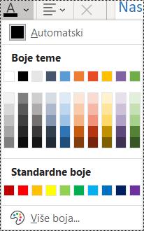Snimka zaslona s prikazom mogućnosti boje fonta izborniku Polazno.