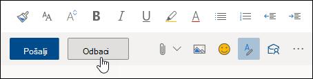 Snimka zaslona s gumbom Odbaci