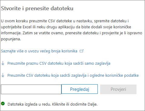 Vaša je CSV datoteka provjerena
