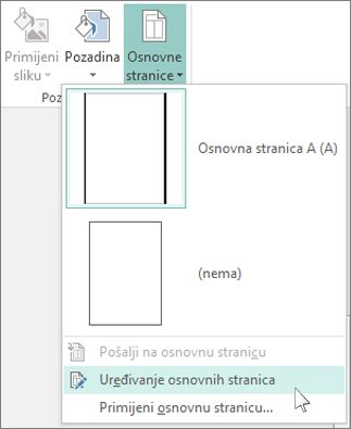 Snimka zaslona s padajućim popisom za uređivanje glavnih stranica u programu Publisher.