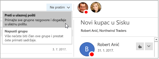 Otkazivanje pretplate gumb u zaglavlju grupe u programu Outlook 2016