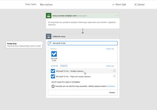 Snimka zaslona na kojoj se prikazuje odabrana aplikacija Microsoft To-Do