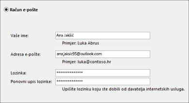 Postavke programa Outlook