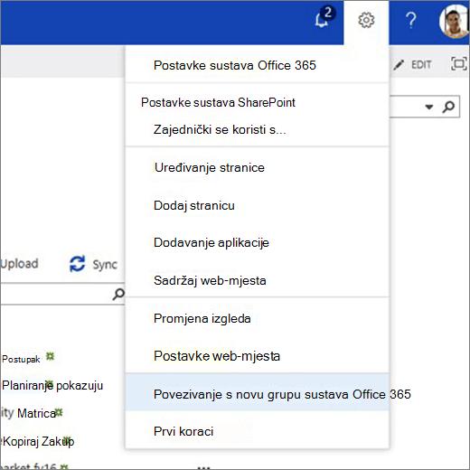 Na ovoj se slici prikazuje izbornik ikona zupčanika i odabrane povezivanje u novu grupu sustava Office 365.
