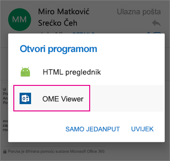 OME Viewer s programom Outlook za Android 2