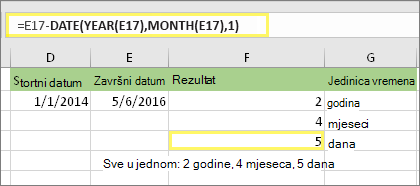 "=DATEDIF(D17,E17,""md"") i rezultat: 5"