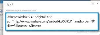 Snimka zaslona koda za ugradnju okvira <iframe> za videozapis kopiran s web-mjesta za razmjenu videozapisa. Kod za ugradnju je izmišljen.