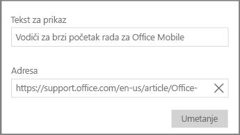Snima zaslona s prikazom dijaloškog okvira za dodavanje veze hiperteksta u programu OneNote za Windows 10.