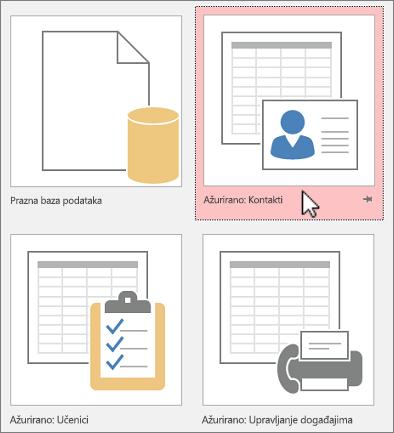 Predlošci programa Access