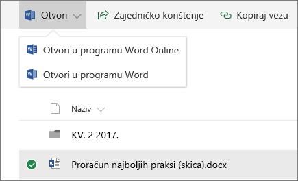 Biblioteka otvorenih dokumenata sustava SharePoint Online