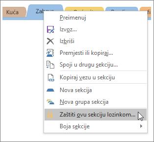 Snimka zaslona s uputama za zaštitu sekcija lozinkom u programu OneNote 2016.
