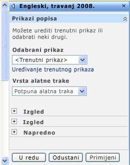 Okno alata web-dijela u kojem možete konfigurirati svojstva web-dijela.