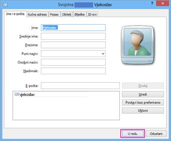 Kliknite U redu za svaki kontakt koji želite uvesti u csv datoteku.