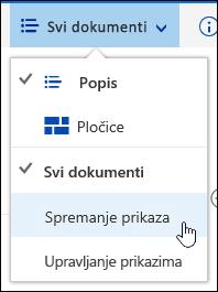 Spremanje prilagođenog prikaza biblioteke dokumenata u sustavu Office 365