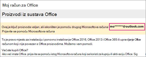 Stranica Moj račun za Office prikazuje djelomičan Microsoftov račun