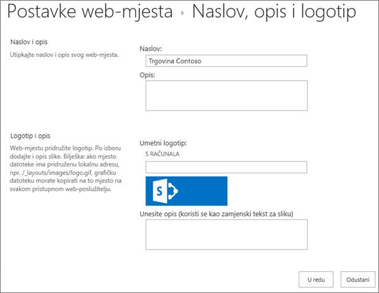 Stranica s postavkama naslova, opisa i logotipa
