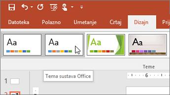 Snimka zaslona tema sustava Office na kartici Dizajn