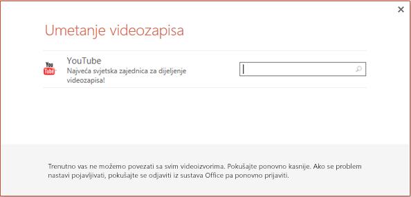 Ovo je dijaloški okvir Umetanje videozapisa s mreže u programu PowerPoint 2013.