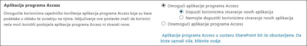 Snimka zaslona s postavkama aplikacije programa Access na stranici centra za administratore sustava SharePoint