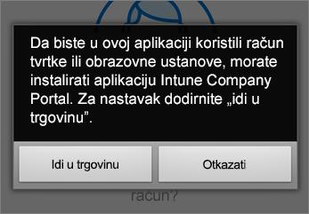 Dodirnite Otvori Trgovinu da biste preuzeli aplikaciju Intune Company Portal.