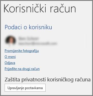 Ploča Korisnički račun na kojoj su prikazani Zaštita privatnosti računa i gumb Upravljanje postavkama